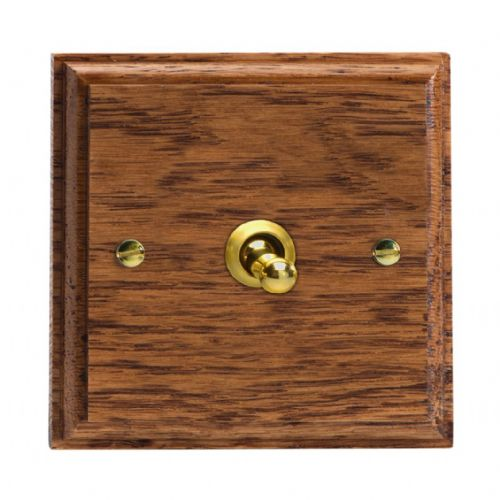 Varilight XKT1MO Kilnwood Medium Oak 1 Gang 10A 1 or 2 Way Toggle Light Switch